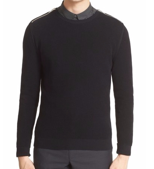 Zip Shoulder Cotton Crewneck Sweater by The Kooples in Empire - Season 2 Episode 11