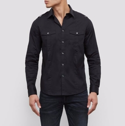 Stretch Military Shirt by Kenneth Cole New York in Preacher