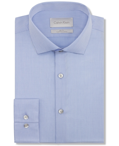 Platinum Slim-Fit Solid Dress Shirt by Calvin Klein in Absolutely Anything