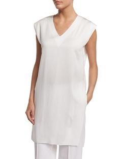 Porter V-Neck Tunic Blouse by Lafayette 148 New York in Quantico