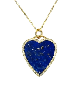 Diamond Lapis Inlay Heart Pendant Necklace by Jennifer Meyer  in Chelsea