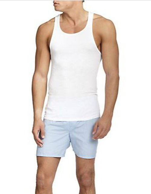 Ribbed Sleeveless Tank Top by Saks Fifth Avenue Collection in Birdman