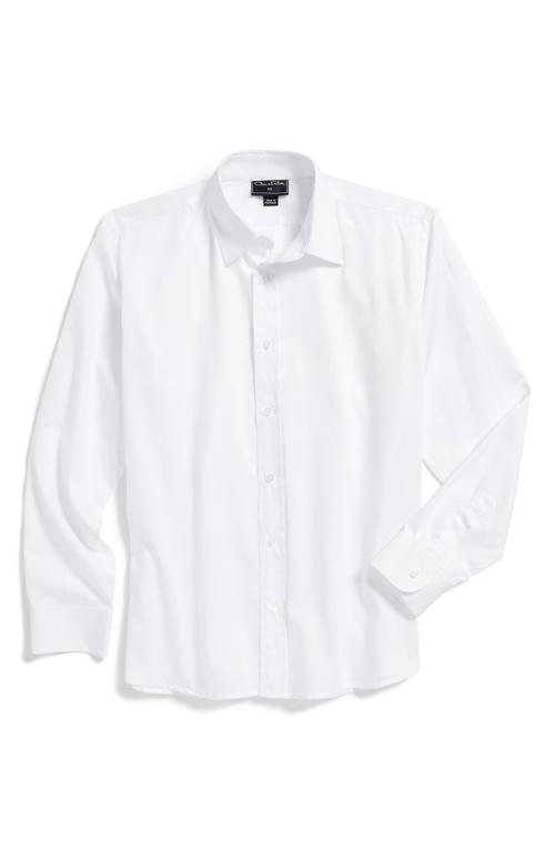 Long Sleeve Cotton Dress Shirt by Oscar de la Renta in Unbroken