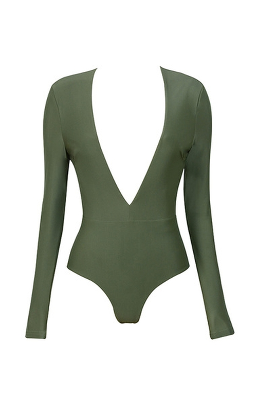 'Lorenza' Silky Jersey Deep V Bodysuit by House of CB in Keeping Up With The Kardashians - Season 11 Episode 12
