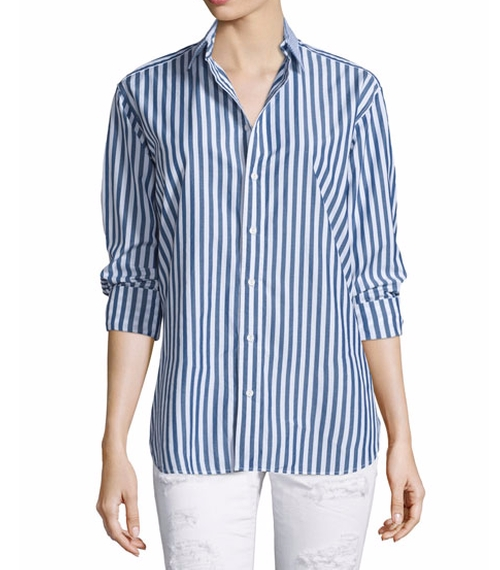 Button-Front Striped Boyfriend Shirt by Rag & Bone/Jean in Silicon Valley - Season 3 Episode 5