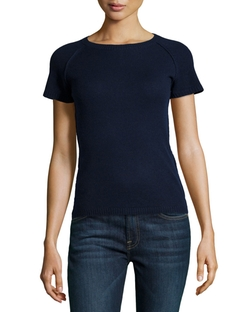Cashmere Short-Sleeve Exposed-Zipper Sweater by Philosophy Cashmere in The Boy Next Door