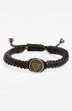 Crest Woven Leather Bracelet by Gucci in The Gunman