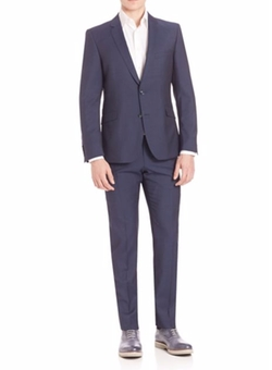 Slim Fit Wool Suit by Strellson in Guilt