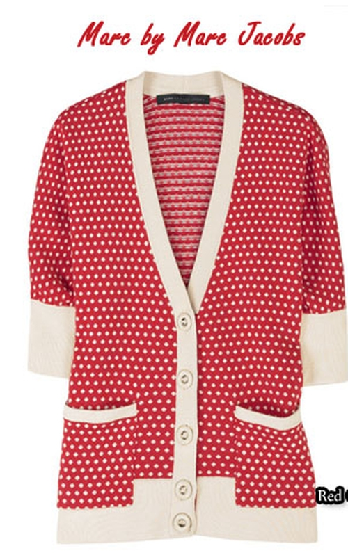 Polka Dot Cardigan by Marc By Marc Jacobs in Valentine's Day