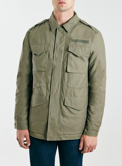 Khaki Borg Lined M65 Jacket by Topman in The Big Bang Theory