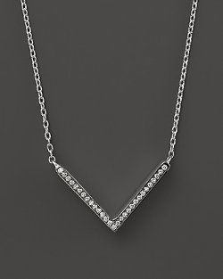 Sterling Silver Stella V Shape Diamond Pendant Necklace by Ippolita in Focus