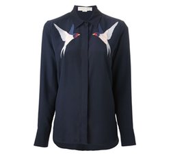 Swallow Embroidered Silk Shirt by Stella McCartney in Billions