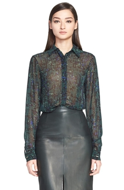 Abstract Print Silk Georgette Blouse by Jason Wu in Supergirl