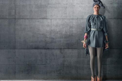 Custom Made Shirt Dress (Effie Trinket) by Kurt and Bart (Costume Designer) in The Hunger Games: Mockingjay Part 1