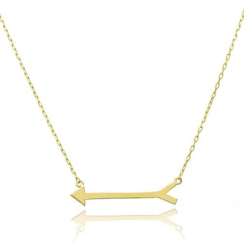 14K Yellow Gold Arrow Necklace by Pyramid Jewelry in Ouija