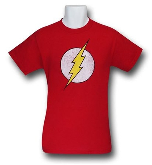 Flash Distressed Symbol T-Shirt by SuperHeroStuff in The Big Bang Theory - Season 9 Episode 3