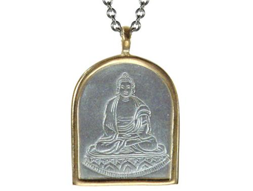 Men's Sterling Silver & 10K Gold Buddha Pendant by Me&Ro in Savages