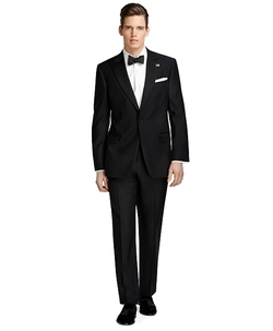 One-Button Peak Lapel Tuxedo Suit by Brooks Brothers in Legend
