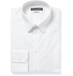 White Gold-Fit Cotton-Blend Shirt by Dolce & Gabbana in Black Mass