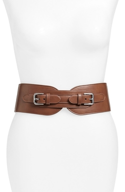 'Double Equestrian' Stretch Leather Belt by Lauren Ralph Lauren in Fuller House