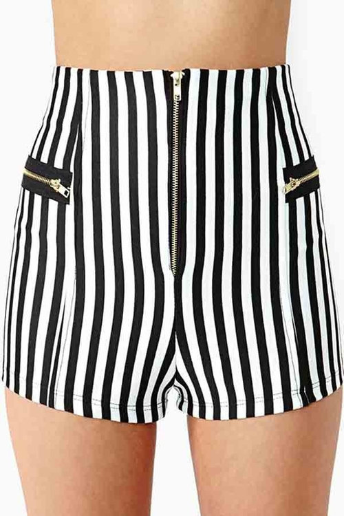 Zipper Decor Vertical Stripe Shorts by Maykool in Clueless
