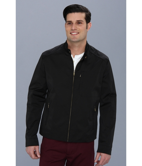 Coated Cotton Moto Jacket w/ Stitch Details by Cole Haan in Blackhat