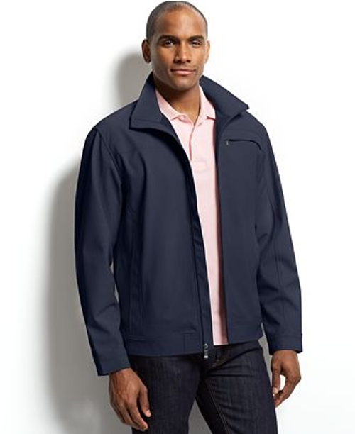 Wind-Resistant Soft-Shell Stand Collar Jacket by Weatherproof in Cut Bank