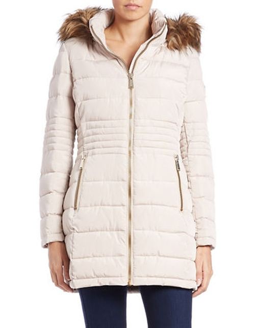 Faux Fur-Trimmed Puffer Coat by Calvin Klein in Jessica Jones