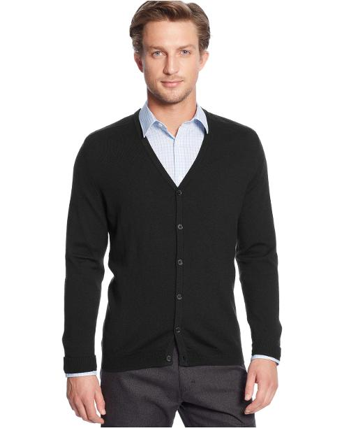 Solid Merino Wool Cardigan Sweater by Calvin Klein in Neighbors
