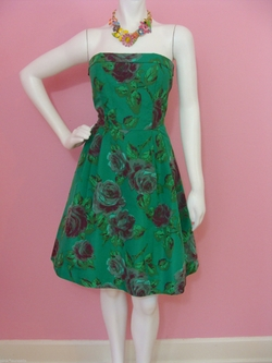 Printed Silk Taffeta Strapless Dress by Betsey Johnson in Sex and the City