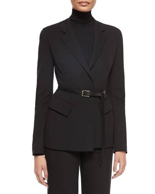 Belted Peplum Notched-Lapel Jacket by Donna Karan in Scandal - Season 5 Episode 2