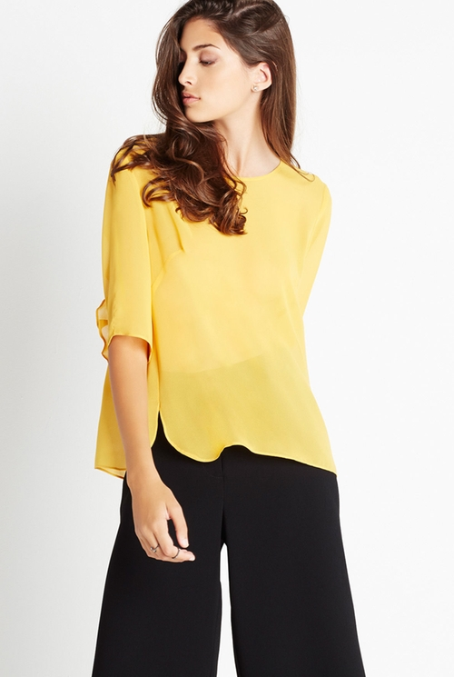 Ruffle-Back Round Hem Top by BCBGeneration in Rosewood - Season 1 Episode 9