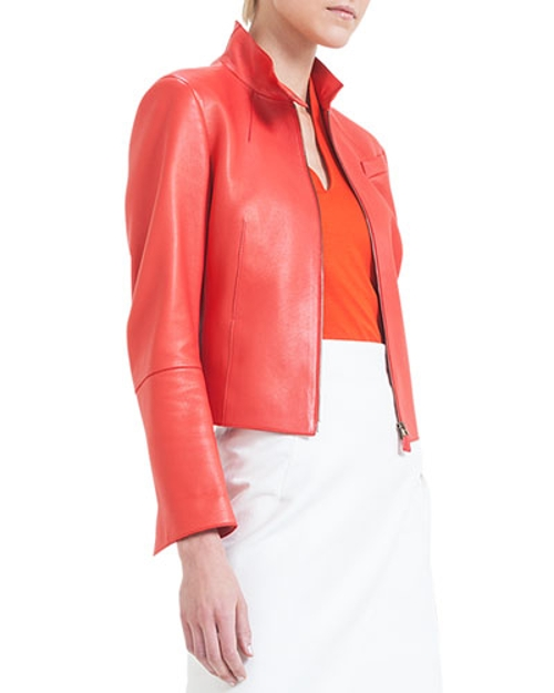 Split-Collar Asymmetric-Cut Leather Jacket by Akris in Avengers: Age of Ultron
