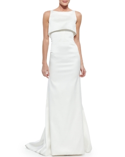 Sateen Double-Layer Gown by Zac Posen in Suits