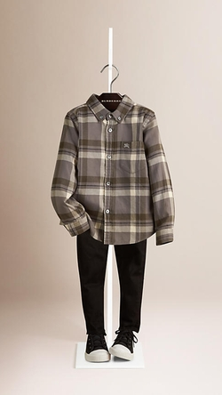 Check Cotton Flannel Button-Down Shirt by Burberry in American Horror Story