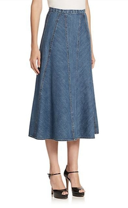 Seamed Denim Midi Skirt by Michael Kors in Steve Jobs