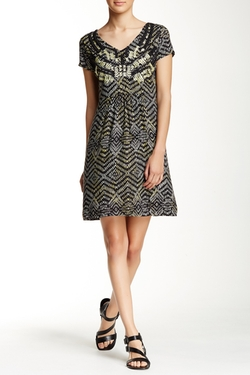 Beaded Embroidered Print Dress by Angie  in New Girl