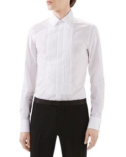 Tux Pleated Bib Shirt by Gucci in Legend