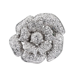 Large Flower Rhodium Pin by Seshma in Suits