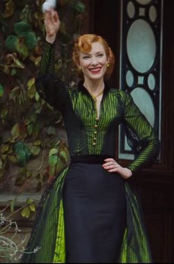 Custom Made Green and Black Dress (Lady Tremaine) by Sandy Powell (Costume Designer) in Cinderella