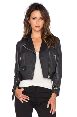 Cropped Biker Jacket by Muubaa in Rosewood
