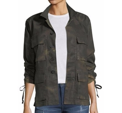 Military Camo Button-Front Jacket by True Religion in Pitch Perfect 3