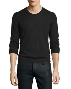 Long-Sleeve Crewneck Wool Sweater by Just Cavalli in Guilt