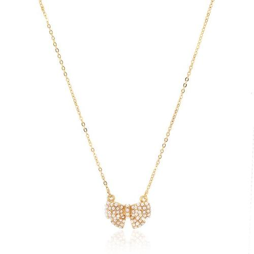 Gold Plated Tiny Pearl Bow Tie Ribbon Necklace by ESPYNY in Neighbors