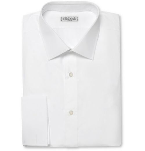 White Double-Cuff Cotton Shirt by Charvet in Entourage