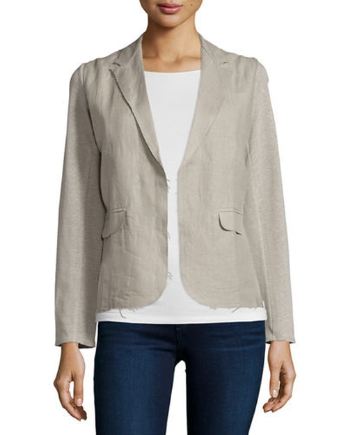 Linen Woven Blazer by Majestic Paris for Neiman Marcus  in Rosewood