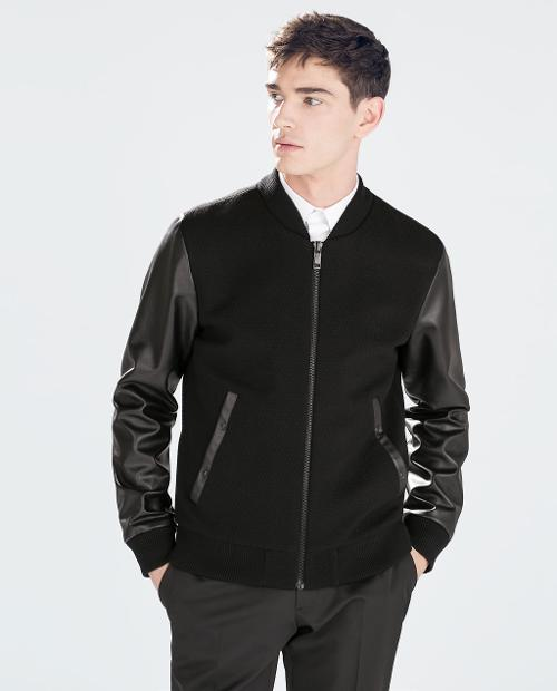 Jacket with Faux Leather Sleeves by Zara in Ride Along