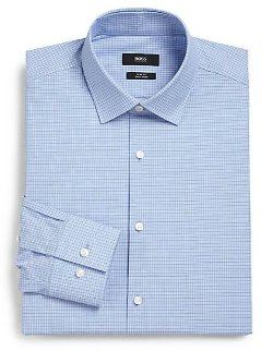 Micro Check Cotton Dress Shirt by Boss Hugo Boss in Pitch Perfect 2