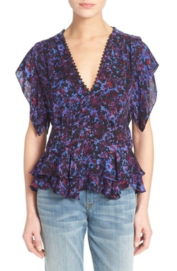 Flutter Sleeve Peplum Silk Top by Rebecca Taylor in The Big Bang Theory