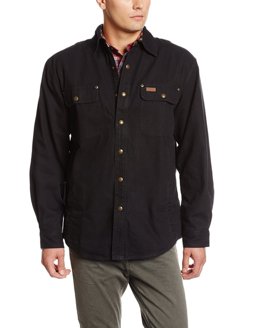 Weathered Canvas Snap-Front Shirt Jacket by Carhartt in The Flash - Season 2 Episode 23